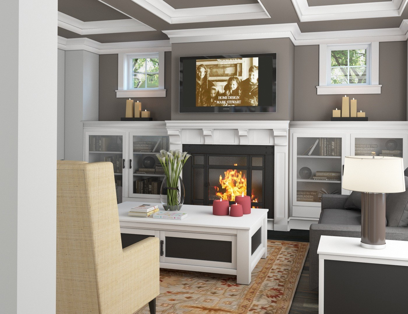 Large fireplace often with built in cabinetry