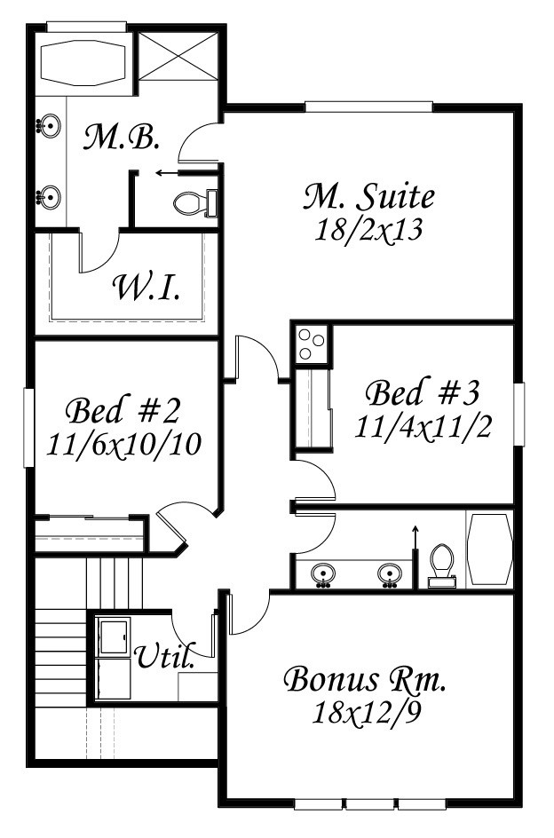 Upper Floor Plan. Allison House Plan Front