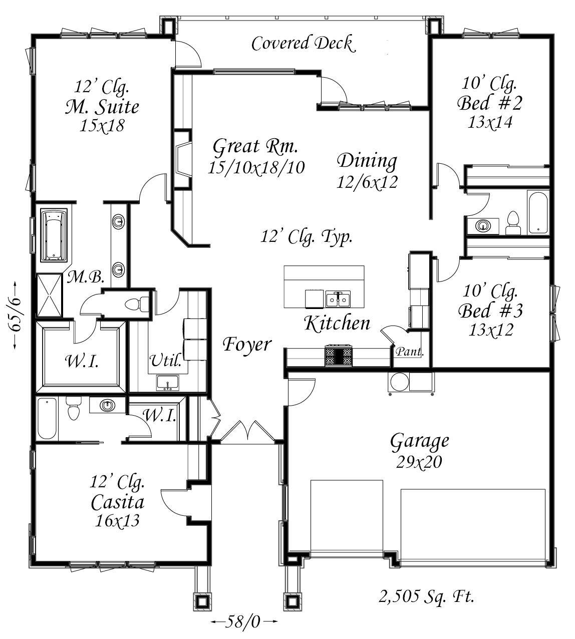 Beautiful one story modern casita house plan affordable for Affordable one story house plans