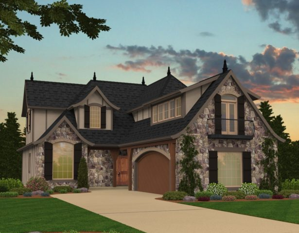 Mark Stewart Tudor House Plan M-2685-A-Merlot