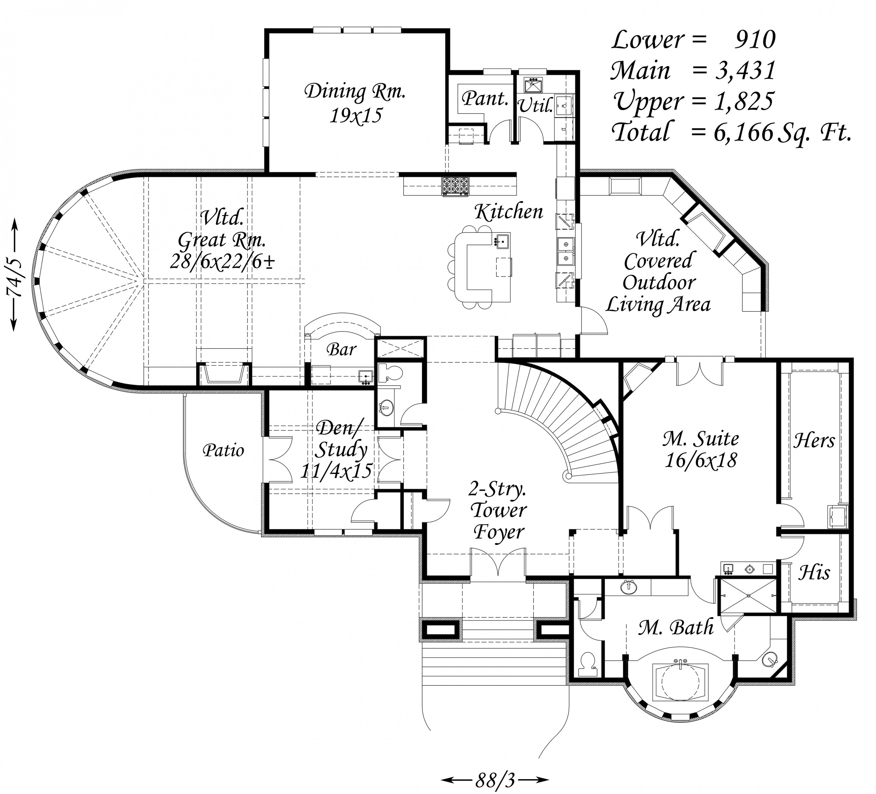 6166 house plan mediterranean house plans old world for Old world floor plans