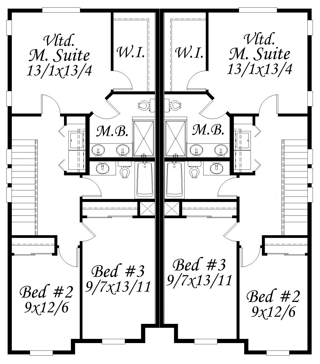 Notable twin house plan built in city of portland for Twin home floor plans
