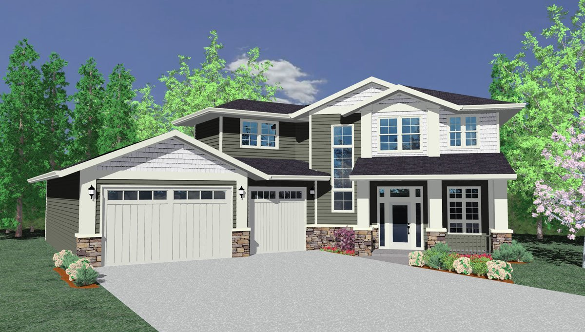 Two Story Craftsman House Plan For Cul De Sac Lot
