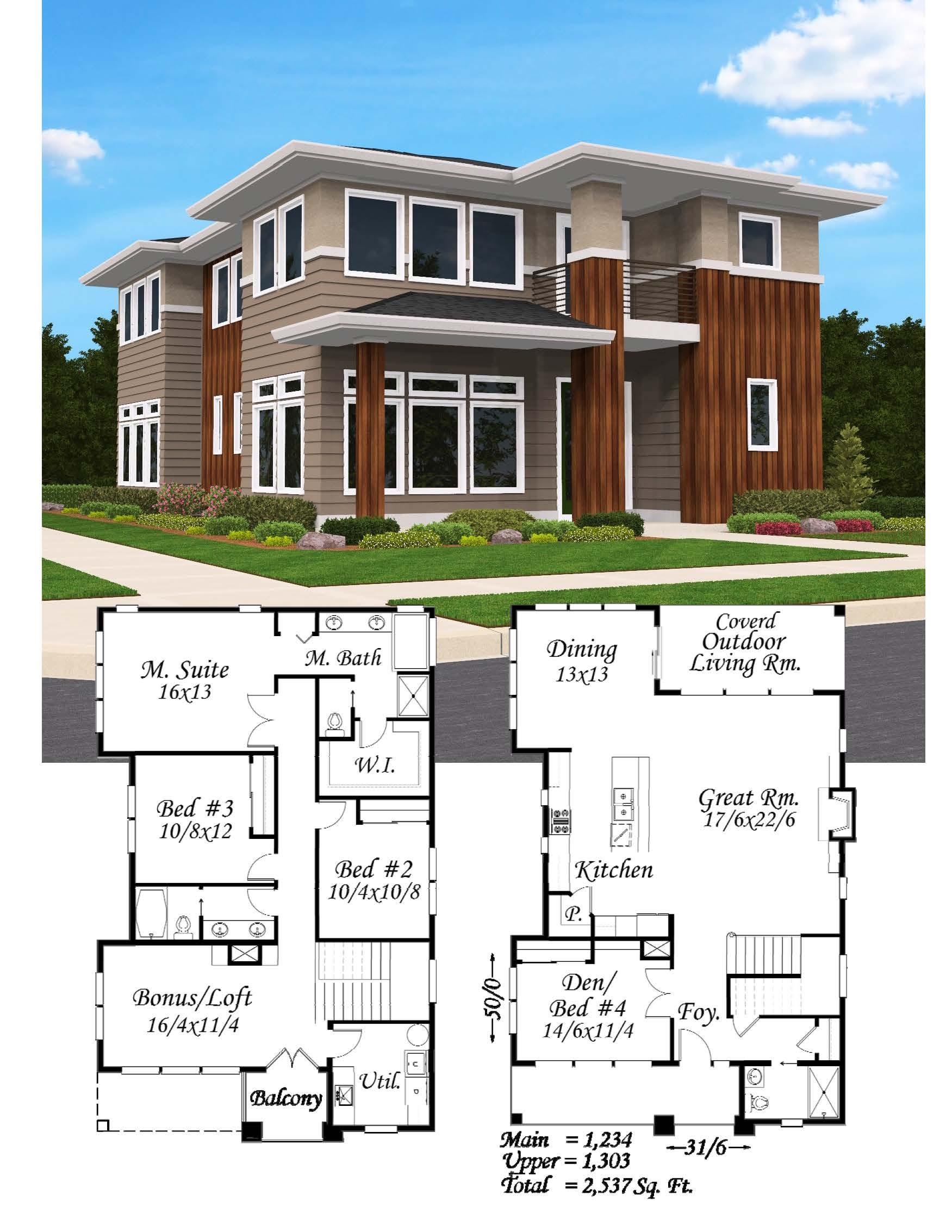 Hip Corner House Plan Modern Home Design Built In Portland Or