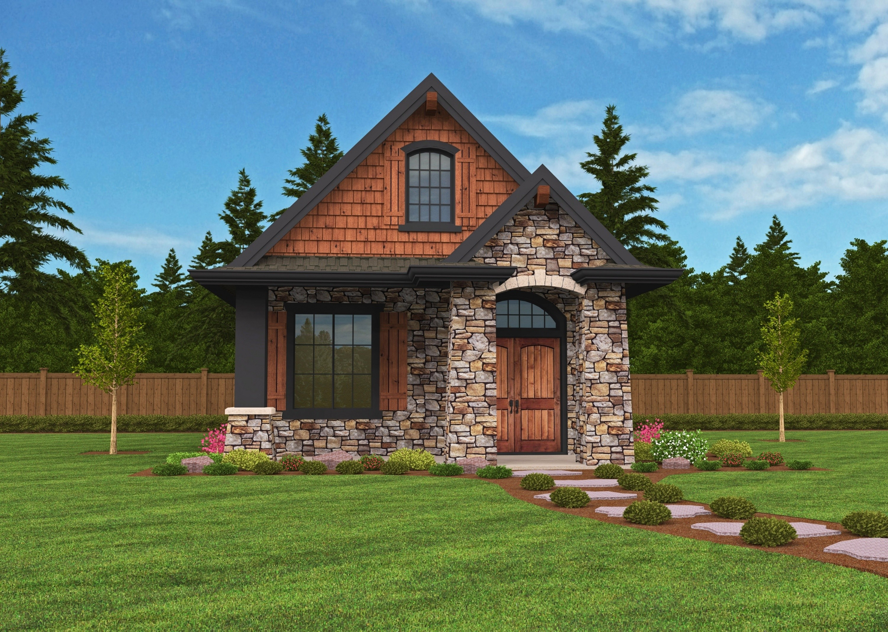 Montana house plan small lodge home design with european for Cabin house plans with photos