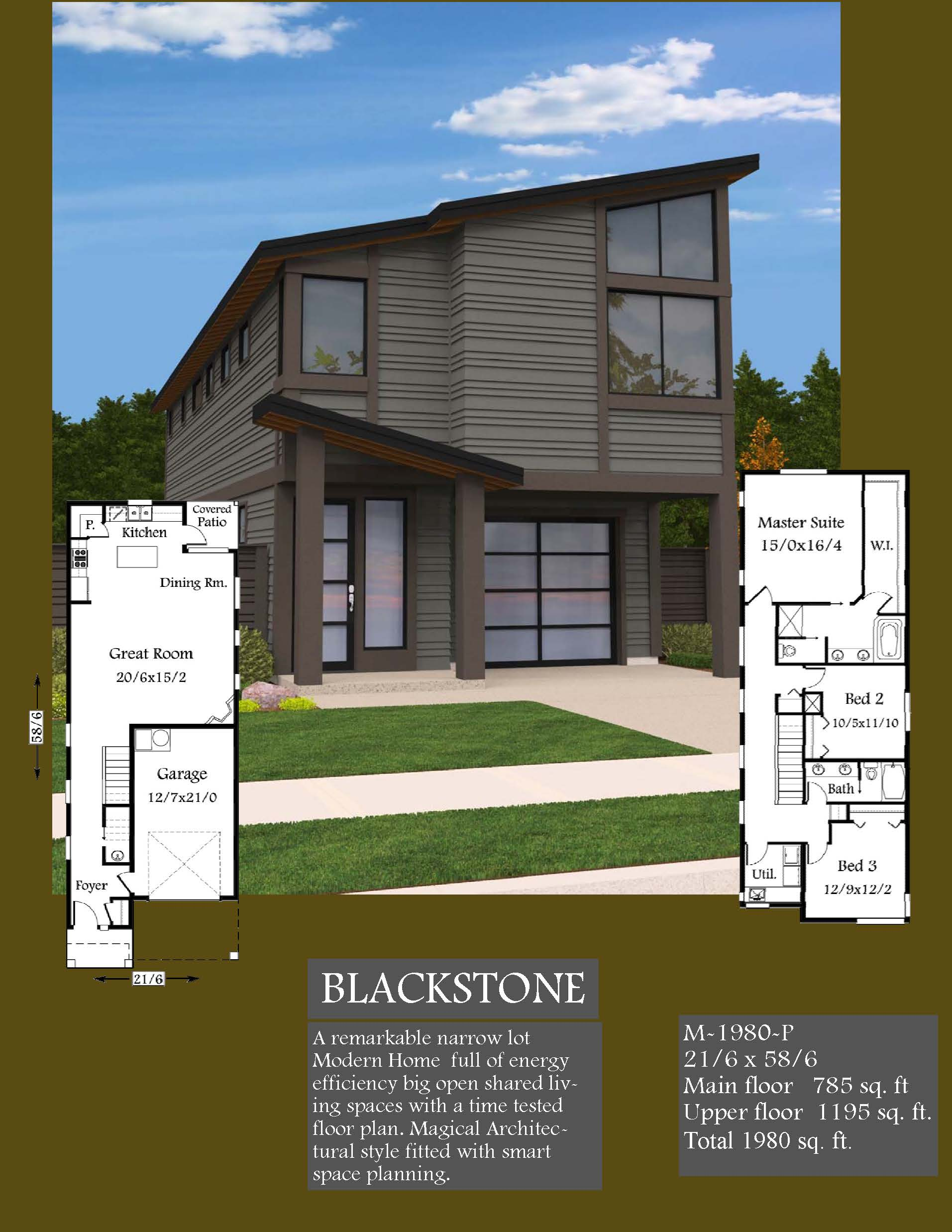 Blackstone Modern House Plan 2 Story Small House Plans With Garage
