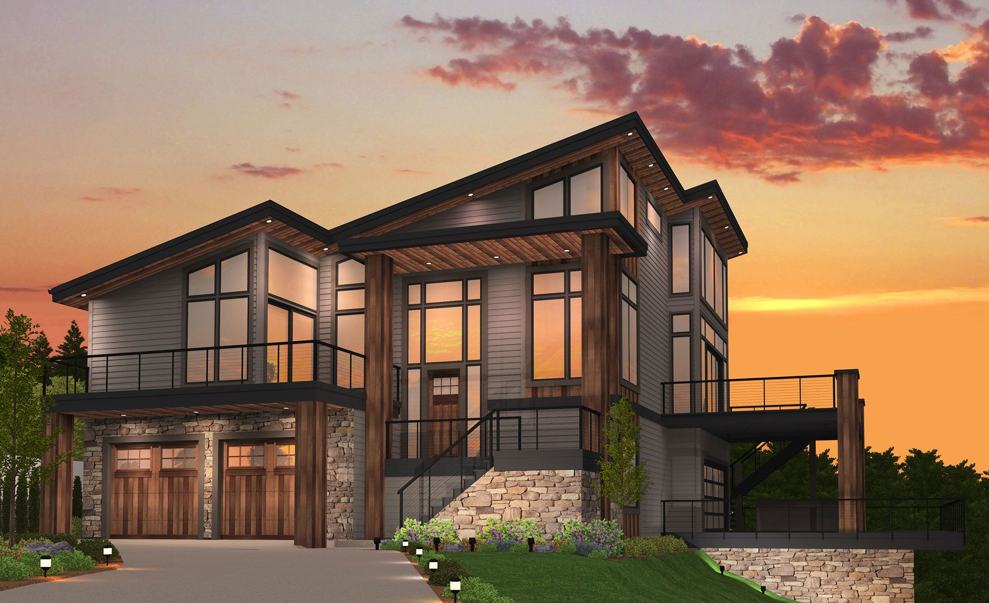 Ultra Modern House Plans For Wide Shallow Steep Lots - rts - ^