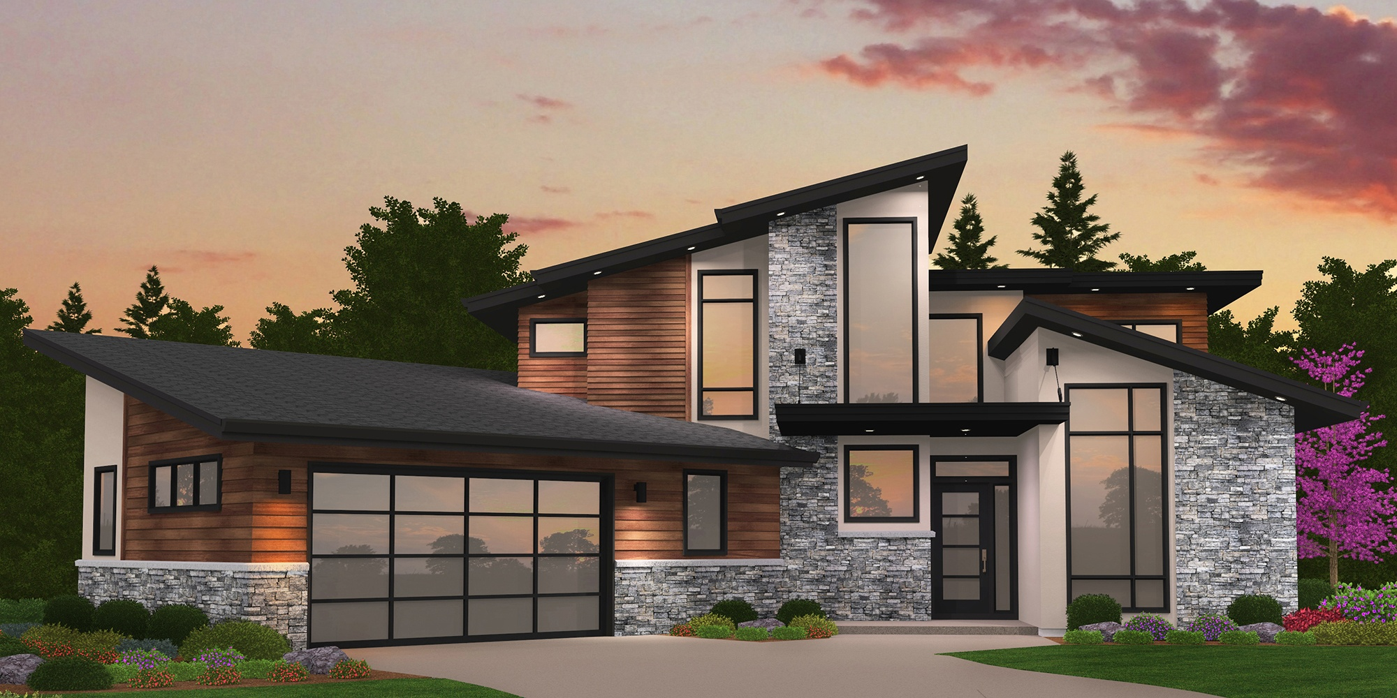 A Modern Empty Nester House Plan with unique and award