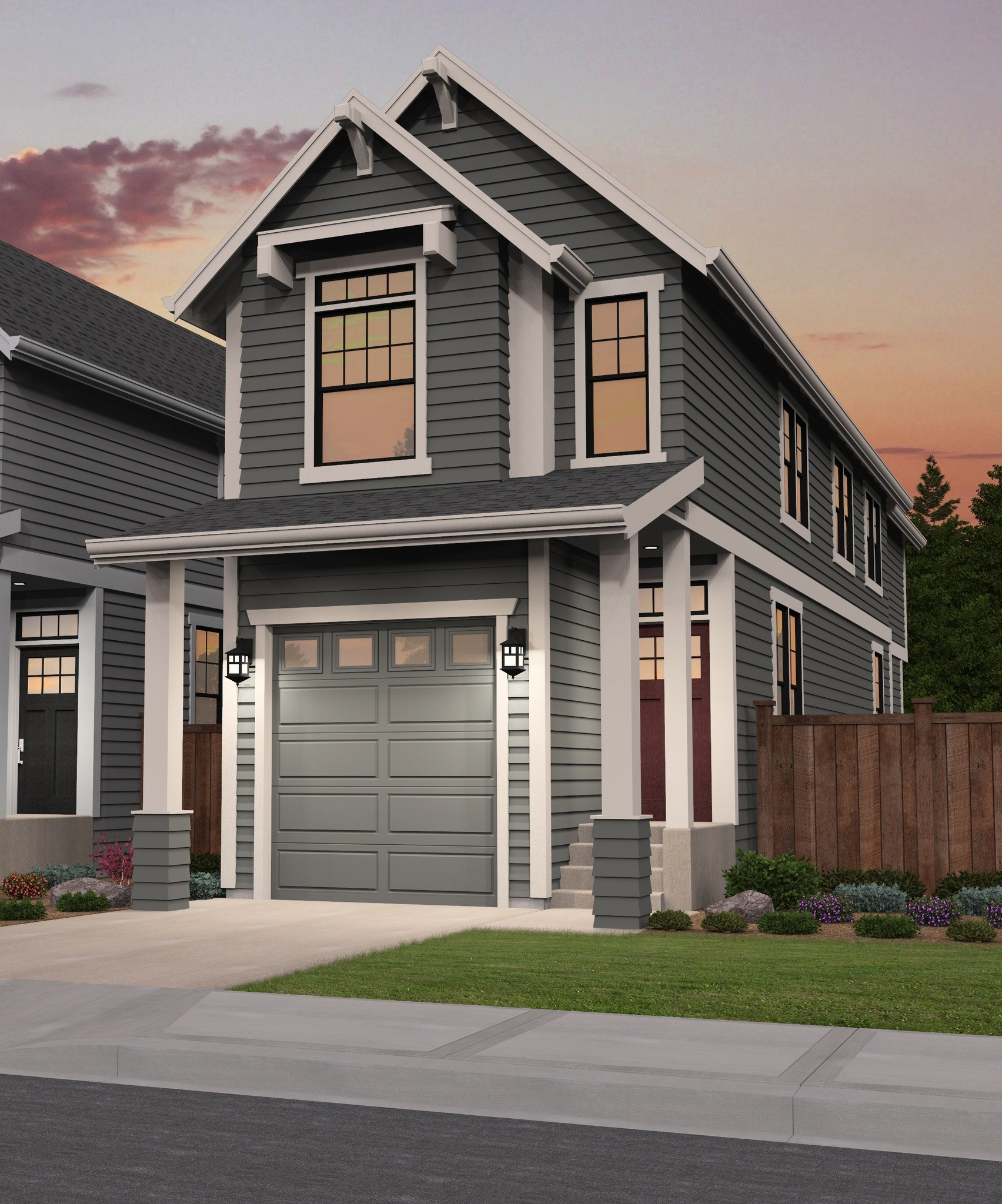 Narrow Lot Modern Infill House Plans 3d