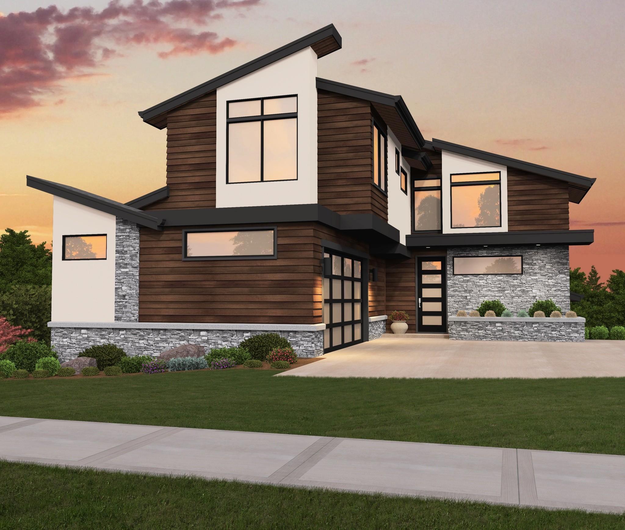 Detached Garage Plan By Mark Stewart Home Design: Narrow Downhill Modern House Plan