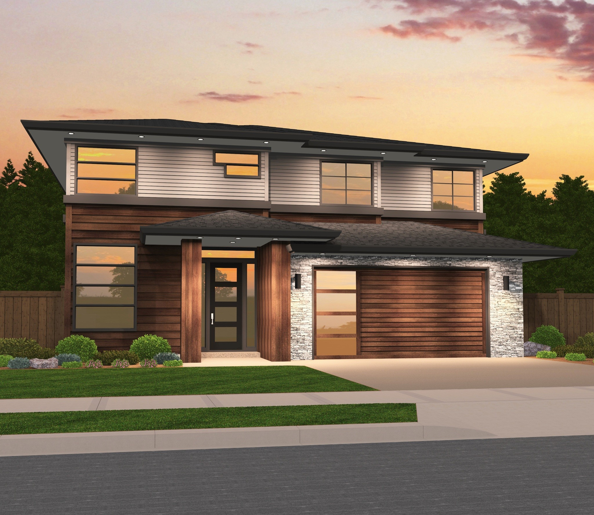 """Victory"" Best Selling Two Story Modern Family House Plan"