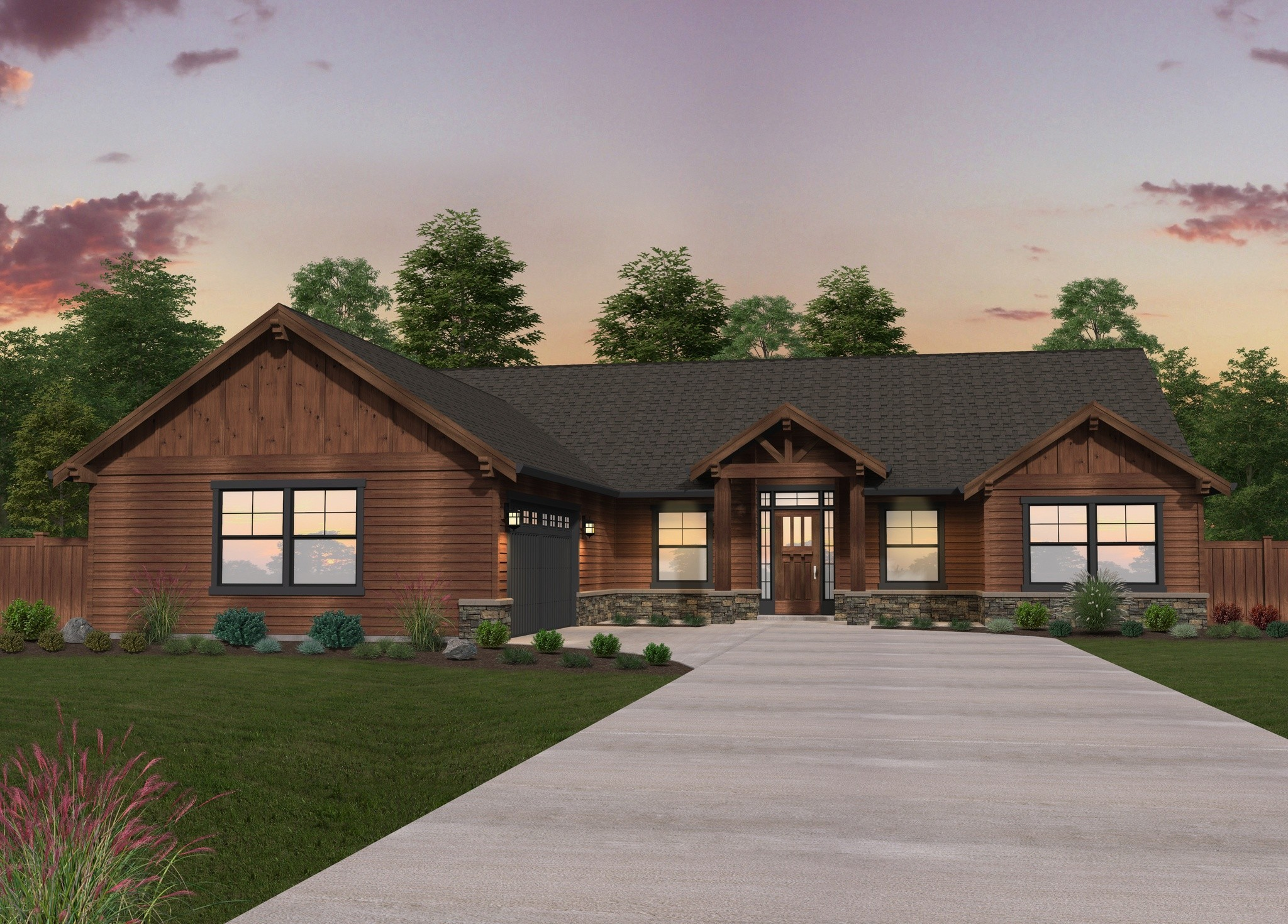 Double b ranch single story lodge house plan by mark stewart for Single ranchers