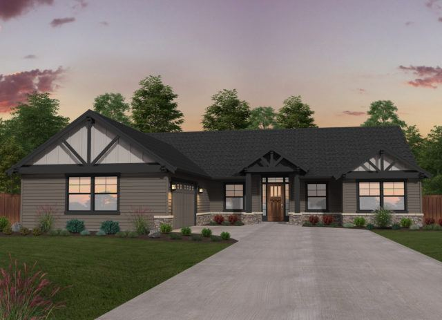 double b ranch single story lodge house plan
