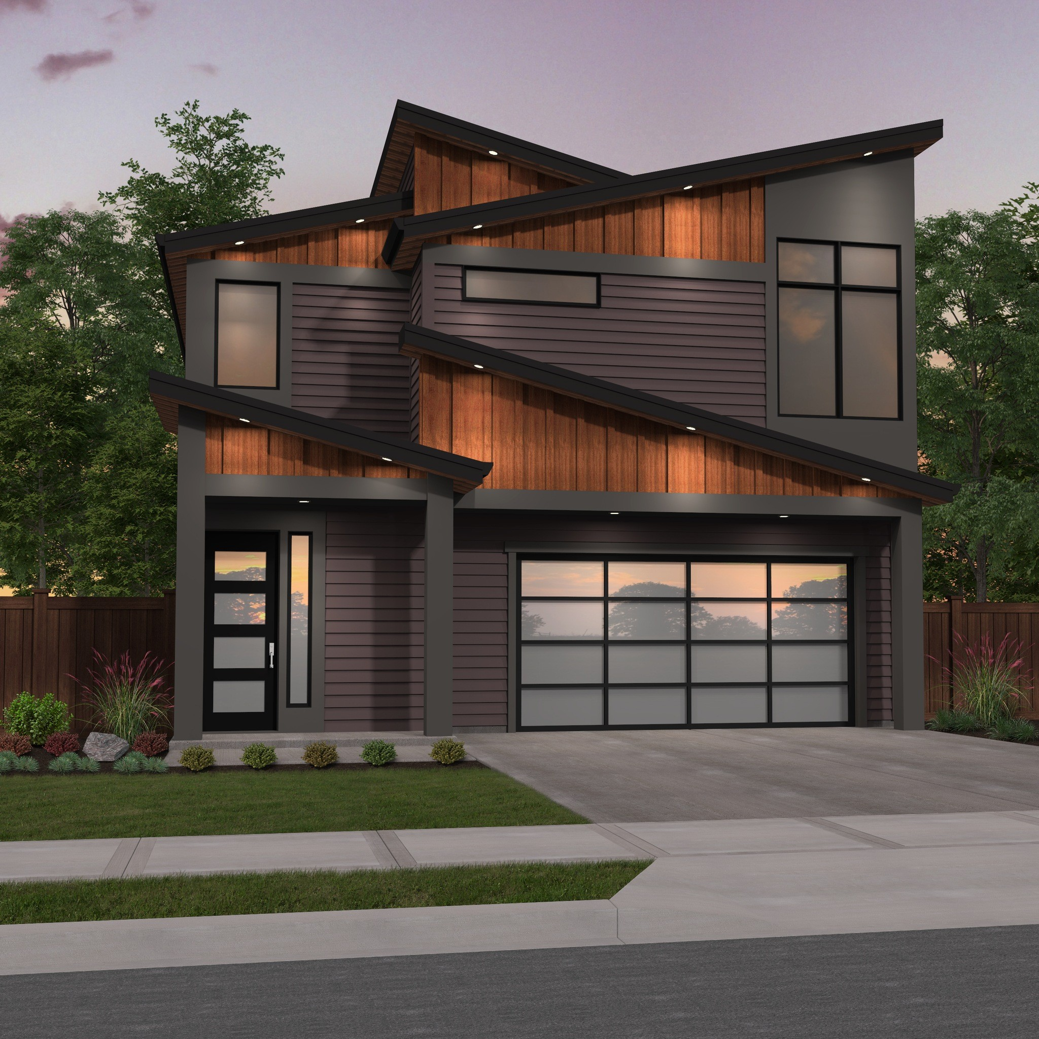 Narrow Modern Two Story House Plan | Good Edge by Mark Stewart