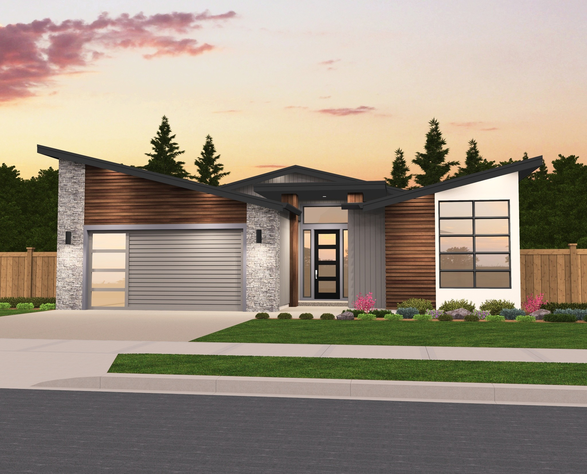 Debbie single story modern house plan by mark stewart for House design plans with photos