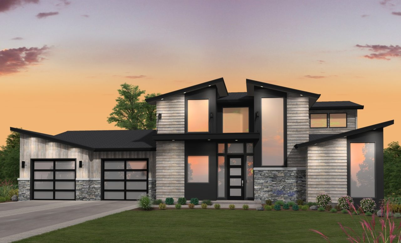 2 story Modern House Plan with a main floor master suite.