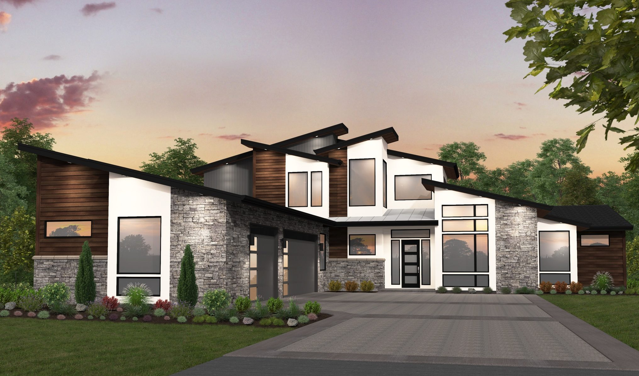 Large L Shaped Modern House Plan