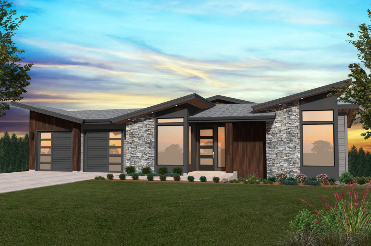 Hillside House Plan | Modern Daylight Home Design with ...