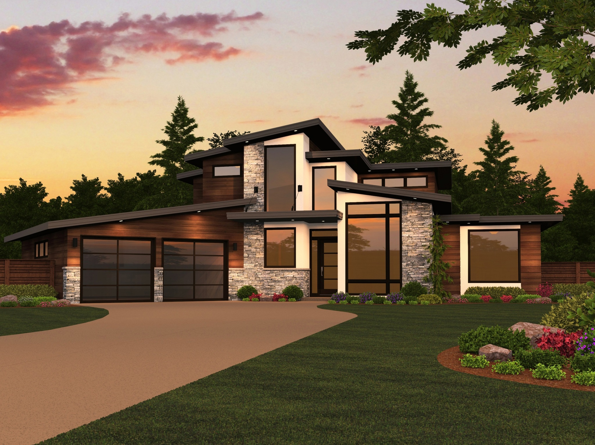 Dallas modern two story house plan