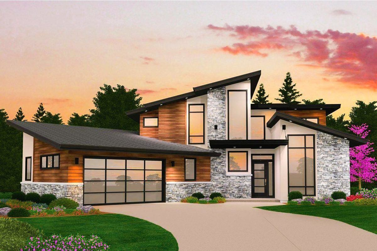 Three Story Modern House Plan With Garage By Mark