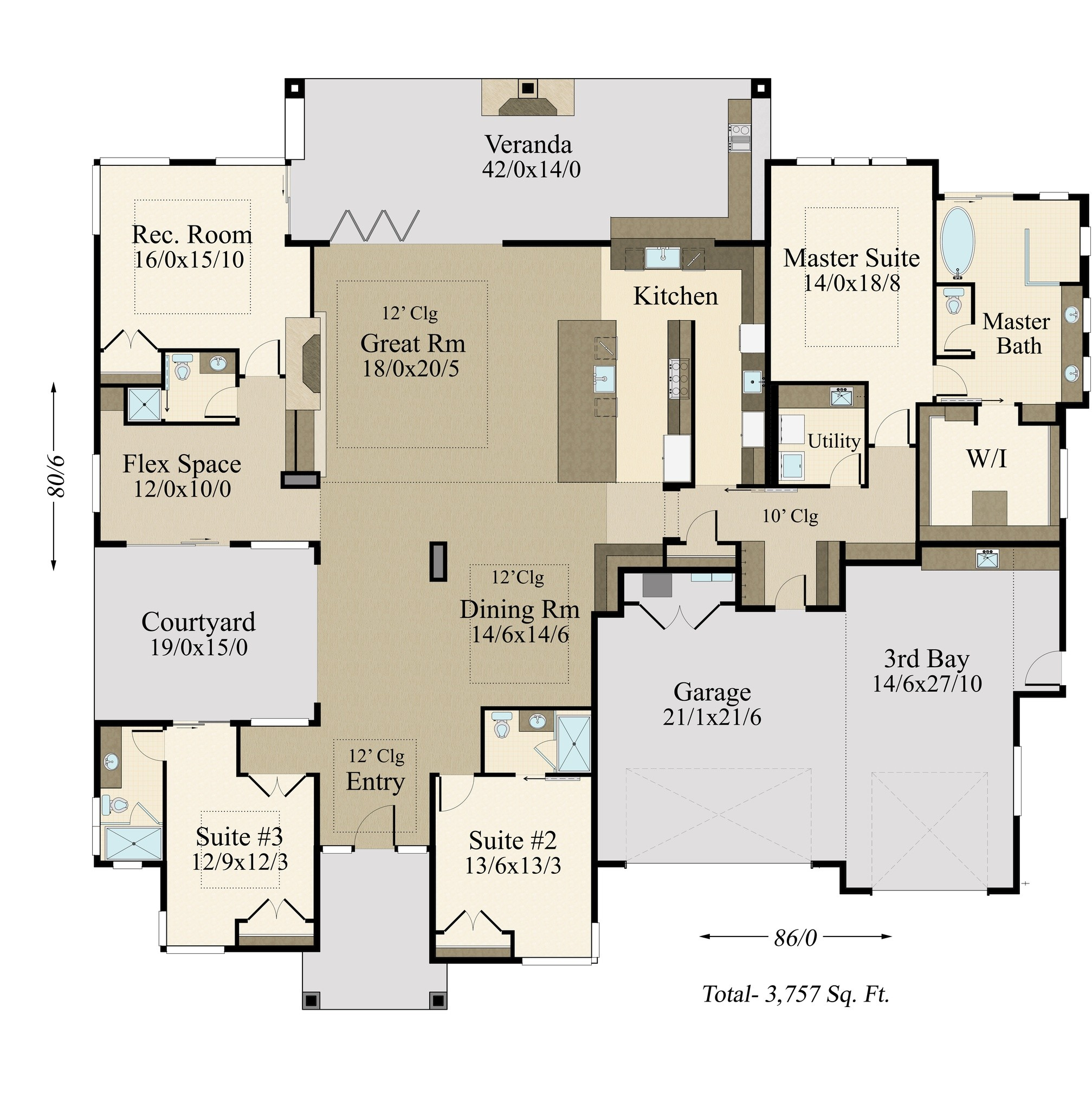 Detached Garage Plan By Mark Stewart Home Design: One Story Modern House Plans With