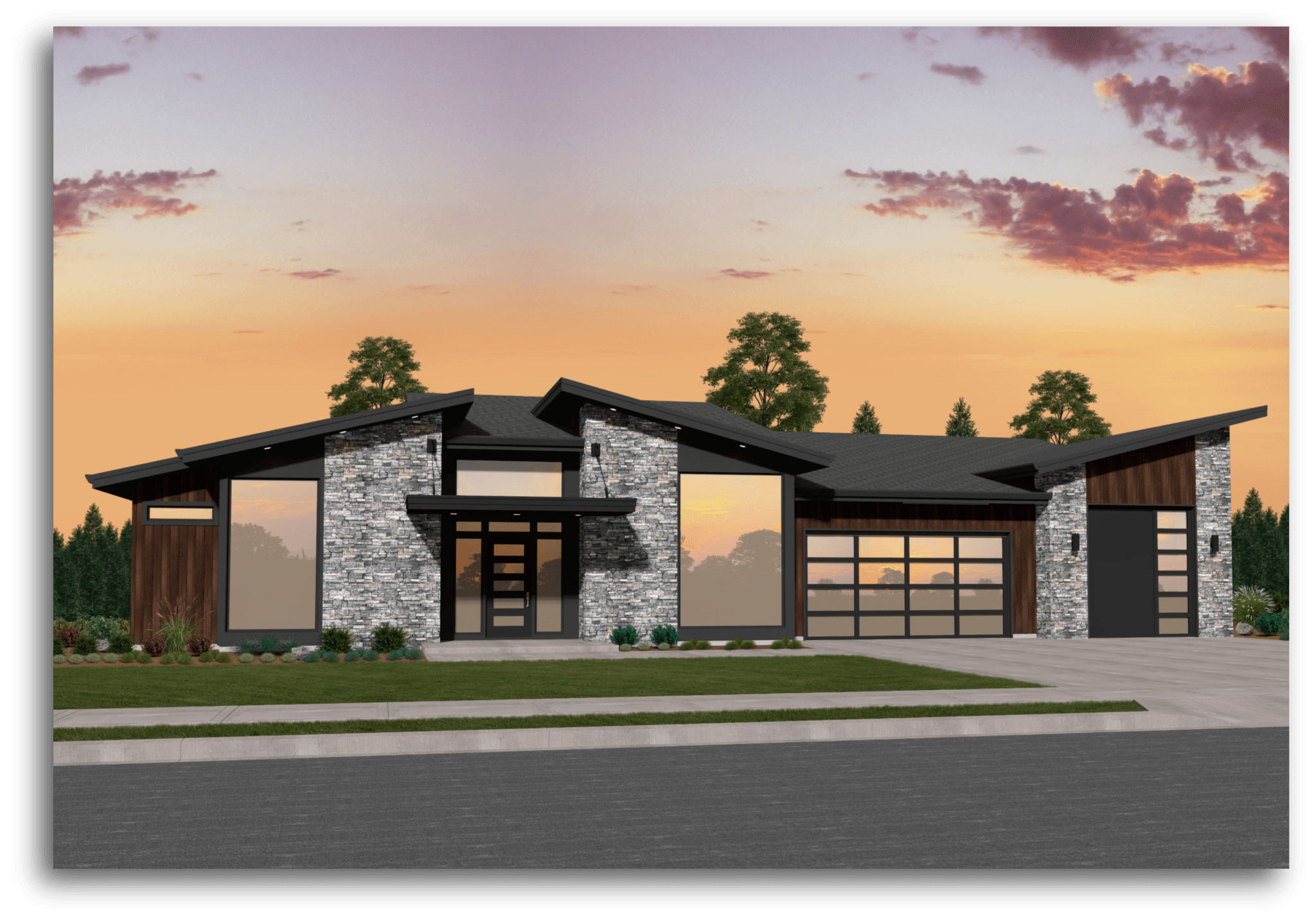 Mi 6 Modern House Plan One Story Modern House Plans With A Garage