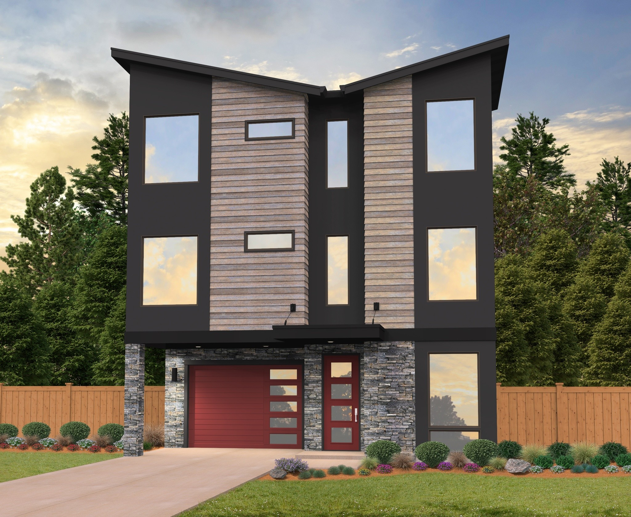 Three story modern house plan