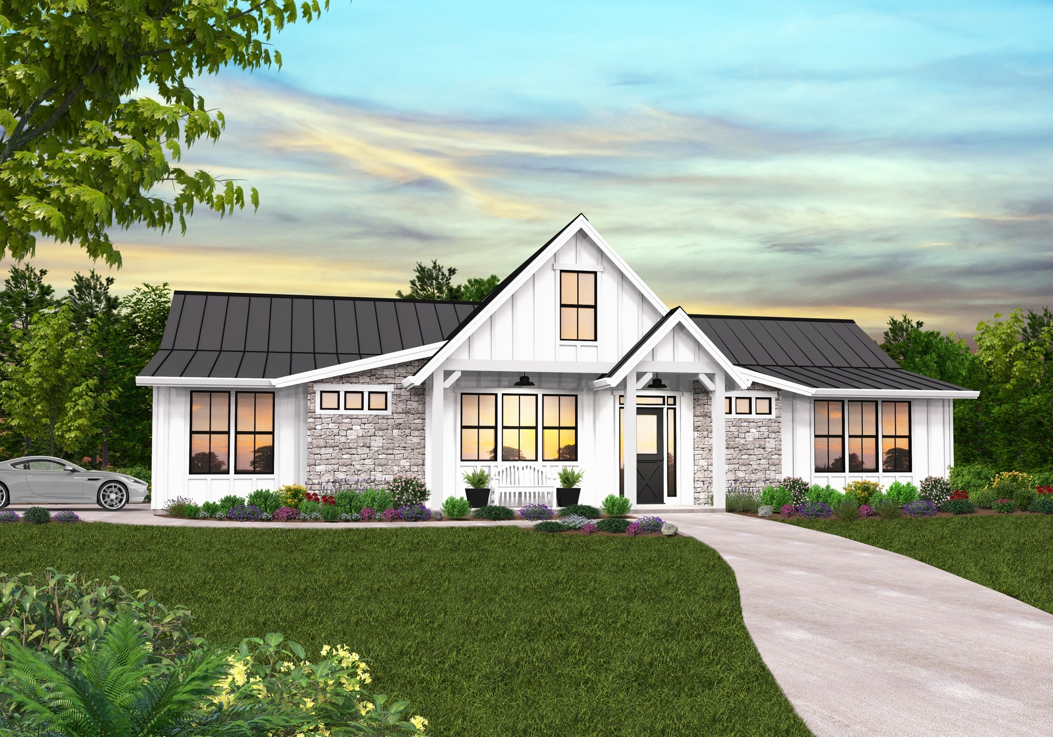 Cuthbert Modern Farmhouse Plan | One Story Farmhouse Designs