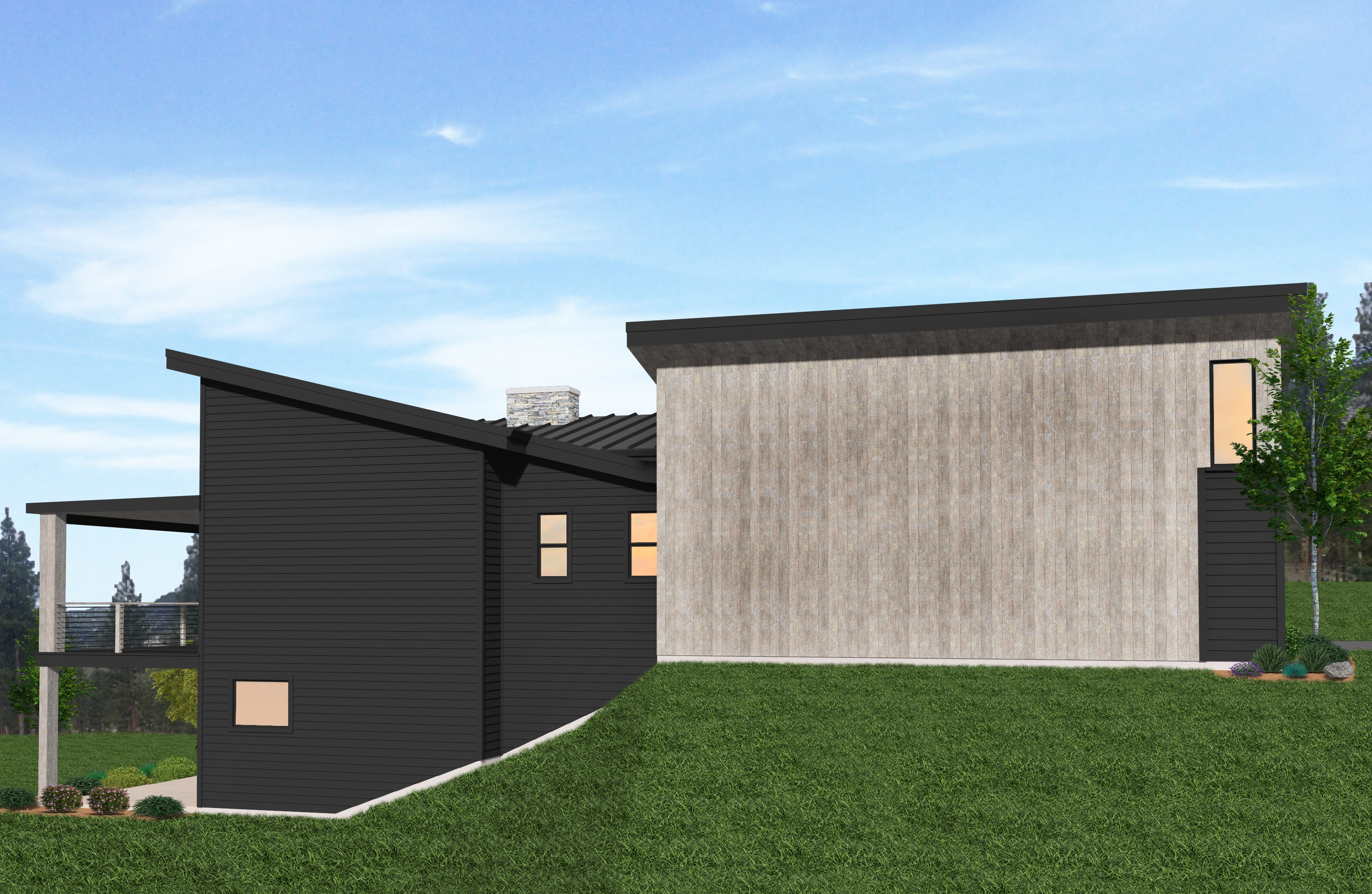 Andrew House Plan Modern Shed Roof Home Design W 2 Car Garage