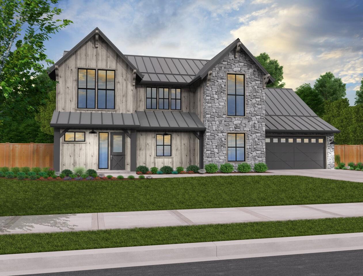 Gold Nugget 5 | Modern Rustic House Plan by Mark Stewart ...