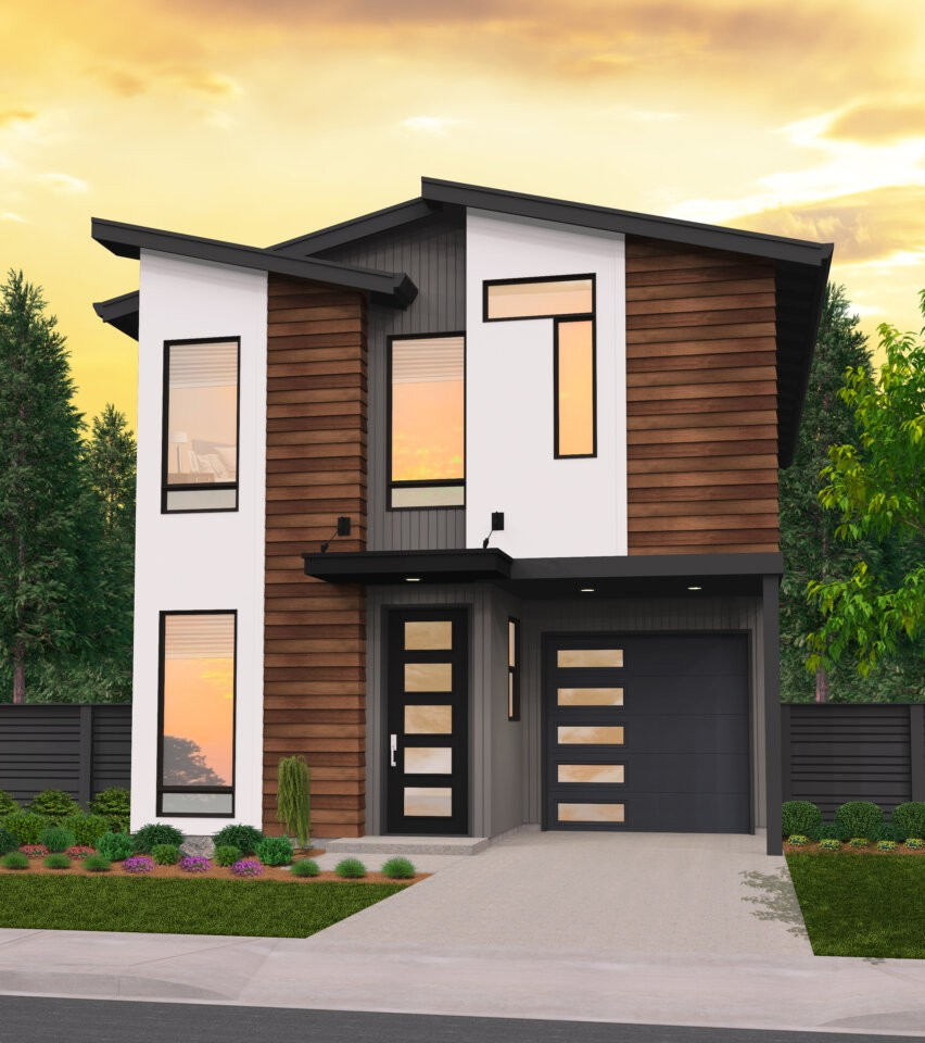 Country Air | Skinny Modern House Plan by Mark Stewart
